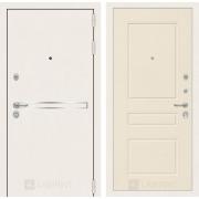 Входная дверь Лабиринт Line White 3 (Шагрень белая / Крем софт)