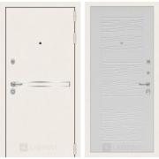 Входная дверь Лабиринт Line White 6 (Шагрень белая / Белое дерево)