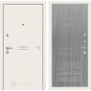 Входная дверь Лабиринт Line White 6 (Шагрень белая / Сандал серый)