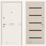 Входная дверь Лабиринт Line White 1 (Шагрень белая / Дуб беленый)