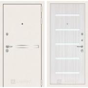 Входная дверь Лабиринт Line White 1 (Шагрень белая / Сандал белый)