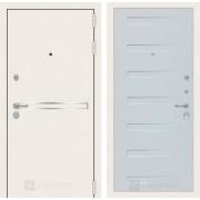 Входная дверь Лабиринт Line White 14 (Шагрень белая / Дуб кантри белый)