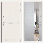 Входная дверь Лабиринт Line White с Зеркалом (Шагрень белая / Акация светлая)