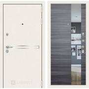 Входная дверь Лабиринт Line White с Зеркалом (Шагрень белая / Сандал серый)