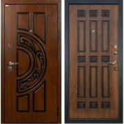 Входная металлическая дверь Лекс Спартак Cisa Голден патина черная (панель №33)
