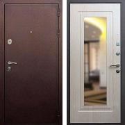 Входная дверь с зеркалом (в квартиру или дом) New Line 5А Зеркало Беленый дуб