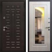 Железная дверь с зеркалом (в квартиру) New Line Премиум 3 Зеркало Беленый дуб