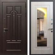 Входная дверь с зеркалом (в квартиру) New Line Эврика Зеркало Беленый Дуб