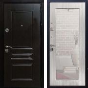 Стальная дверь с зеркалом (в квартиру) New Line Премиум Н Сандал Белый Пастораль