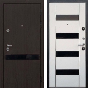 Стальная дверь (в квартиру) New Line Премьер Z-2 Вайт Черное Стекло