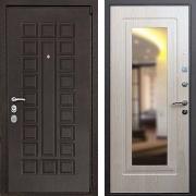Металлическая дверь с зеркалом (в квартиру) New Line М-4А Mottura Зеркало Беленый дуб