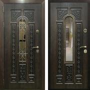 Уличная металлическая дверь (в частный дом) New Line М-8 с ковкой и окном
