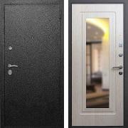 Металлическая дверь с зеркалом (в квартиру) New Line Верона 6 Зеркало Беленый Дуб