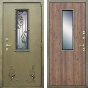 Уличная утепленная дверь с окном и ковкой (в частный дом) New Line А-345