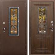 Металлическая дверь с ковкой и стеклом (в частный дом) New Line S-233