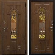 Металлическая дверь с ковкой и стеклом (в частный дом) New Line S-234