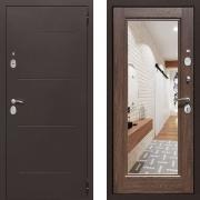 Входная дверь Йошкар Зеркало 100мм Коньяк